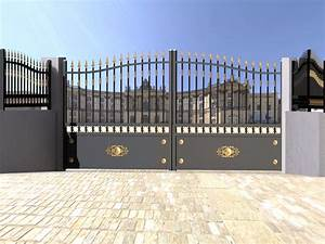 portail de cloture en aluminium pour maison individuelle With portail de maison en fer