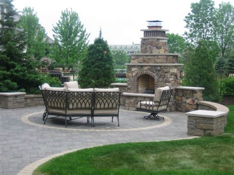 outdoor fireplaces areas with wrough iron furniture