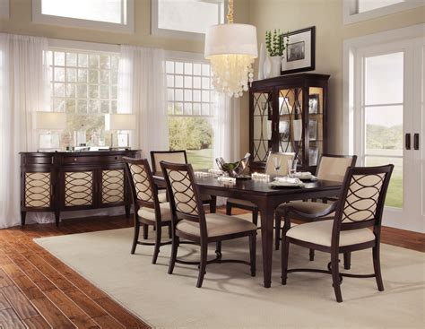intrigue transitional contemporary dark wood formal dining