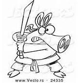 Pig Ninja Outlined Coloring Vector Cartoon Sword Royalty sketch template