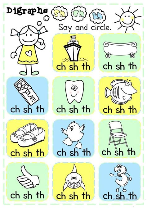 digraphs sh ch th choice worksheet free