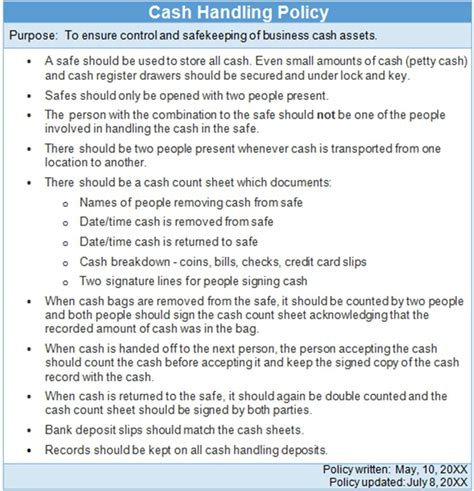 Company Theft Policy Template by Cash Handling Policy Exle The Thriving Small Business