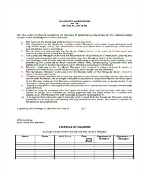 Euromillions Syndicate Agreement Template  28 Images Uk