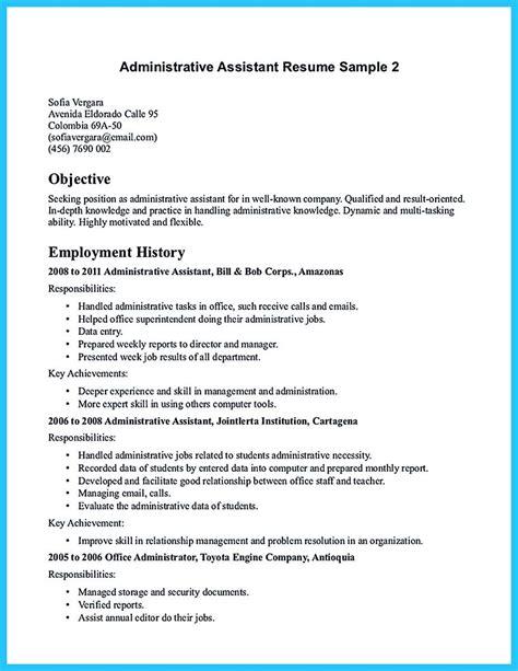Resume For Assistant Manager Position by Cool Professional Administrative Resume Sle To Make You