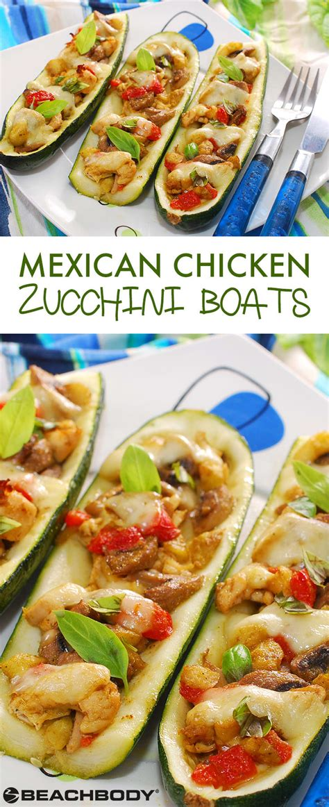How To Make Zucchini Boats With Chicken by Mexican Chicken Zucchini Boats Recipe The Beachbody Blog