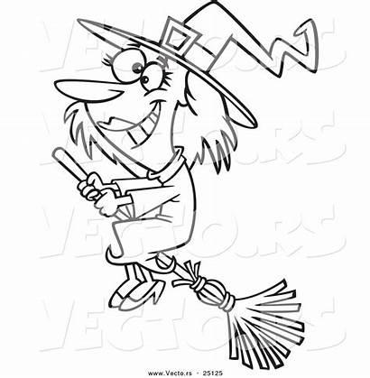 Halloween Outline Cartoon Coloring Broom Witch Happy
