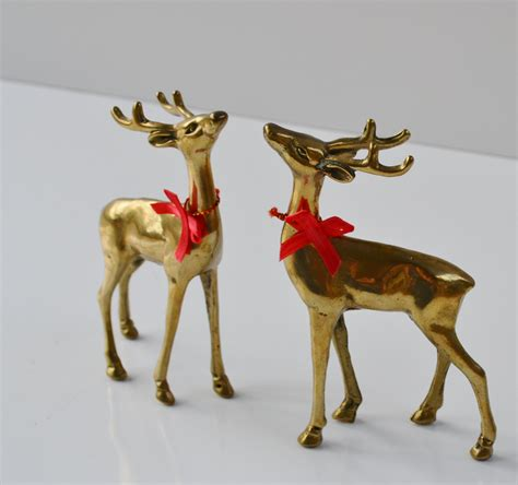 vintage brass deer figurines reindeer christmas by