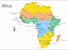 Africa map with countries, main cities and capitals