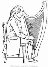 Harp Playing Irish Musician Bible Enlarge sketch template