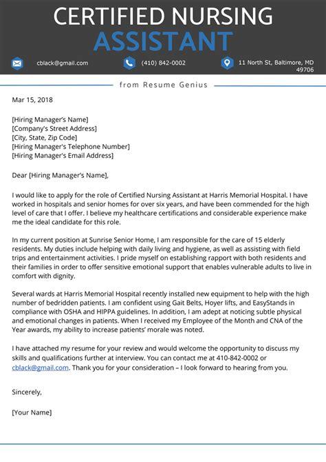 certified nursing assistant cna cover letter resume genius