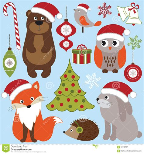 christmas woodland animals stock vector illustration
