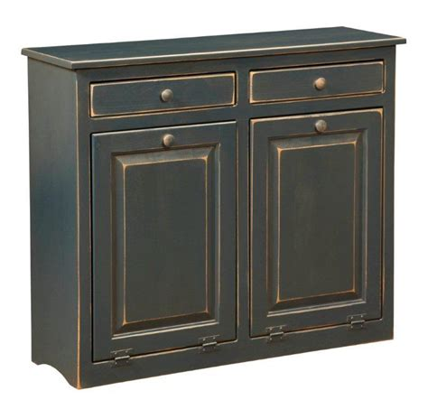 double trash can cabinet amish large pine double trash bin