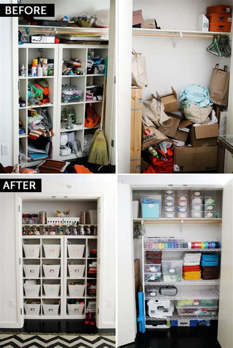 Organize Craft Closet by Before After The Ultimate Craft Closet Brit Co