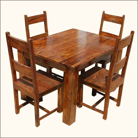 rustic 5pc kitchen dinette dining table with chairs set