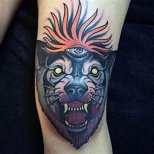 New school style colored leg tattoo of demonic bloody wolf ...