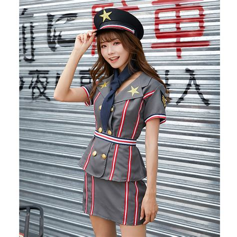 Pcs Sexy Policewoman Uniform Double Breasted Jacket Adult Cop Suit Cosplay Costume Set N