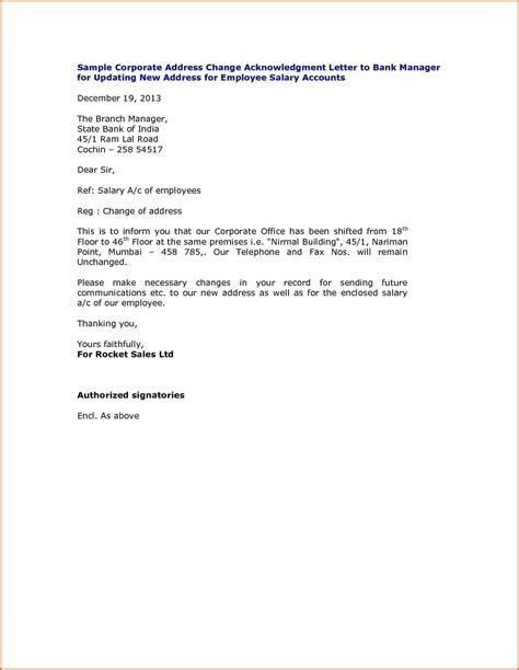letter format  bank  change