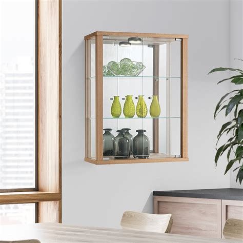 oak wall mounted glass display cabinet with lighting
