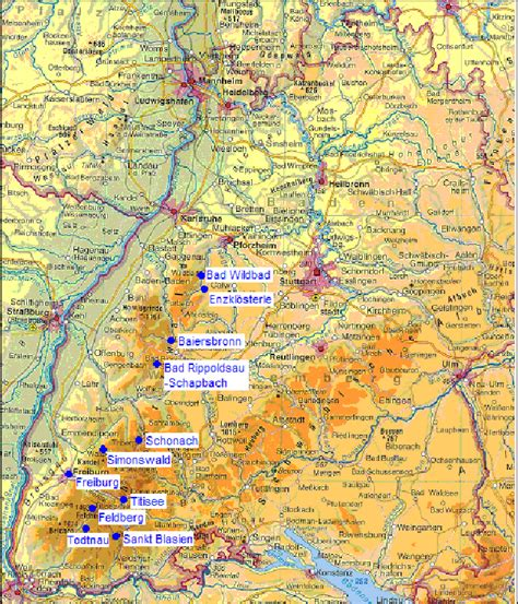 Note that the postal code may be searched with nearby approximation. Topographical map of Baden-Württemberg, Germany. selected ...
