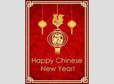 Rooster Lantern Chinese New Year Card Birthday