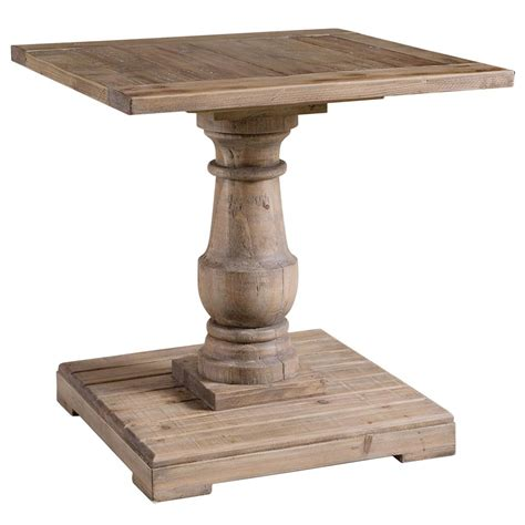 pedestal accent table gamble rustic lodge salvaged fir wash pedestal end