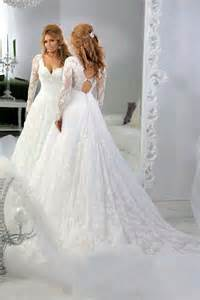 lace wedding gowns with sleeves vintage lace sleeves beaded a line wedding dresses tulle applique sequins sheer 2015 v