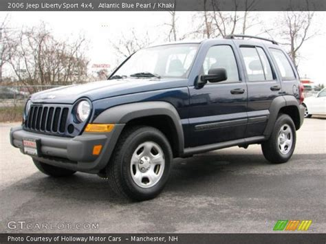 Atlantic Blue Pearl  2006 Jeep Liberty Sport 4x4 Khaki