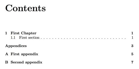 table of contents definition appendices adding appendix quot chapters quot without sections