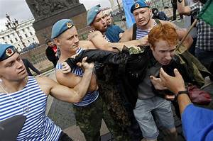 Russian paratroopers attack gay rights activist