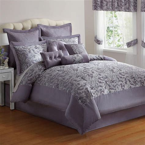 elegant  pc purple silver jacquard king size comforter