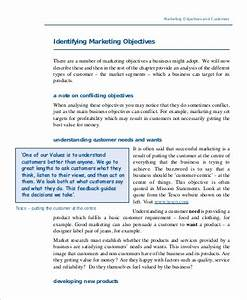 Objective Examples For Customer Service Free 8 Marketing Objective Example Samples In Ms Word Pdf