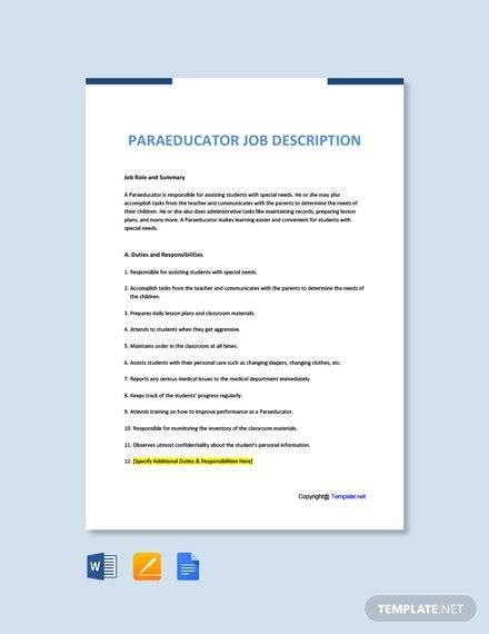 paraeducator job description template word apple