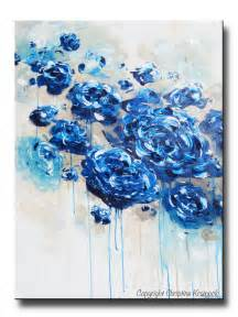 original abstract navy blue floral painting flowers contemporary by christine