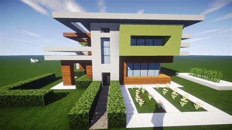 Minecraft Modernes Haus Holz Weiß Grün Bauen Tutorial