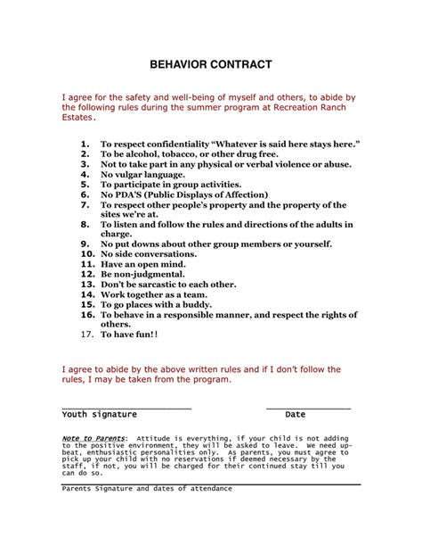 behavior contract template for adults behavior contract in word and pdf formats