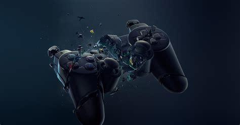 black joystick exploded wallpapers hd desktop  mobile