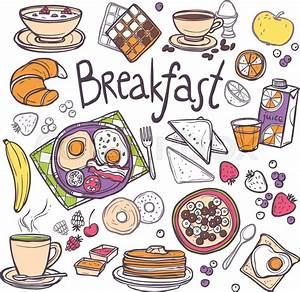 Breakfast decorative sketch icons set with fried eggs ...