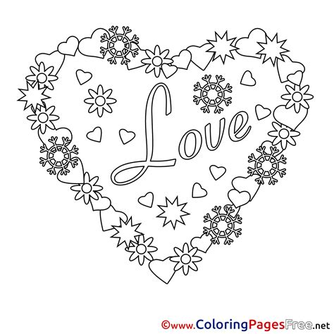 Wreath Heart Printable Valentines Day Coloring Sheets