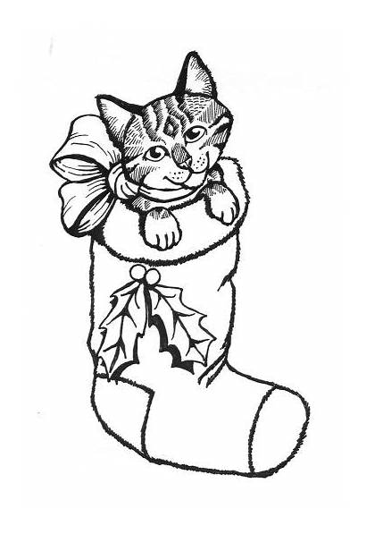 Coloring Cat Kitten Pages Christmas Cats Kittens
