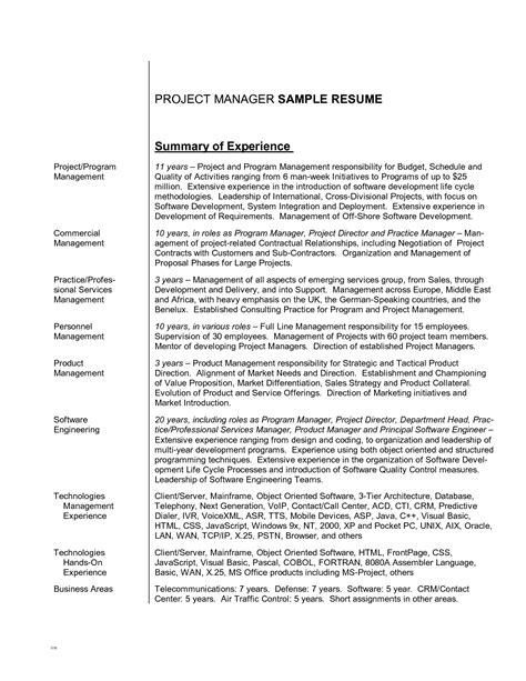 resume career summary exles writing resume sle