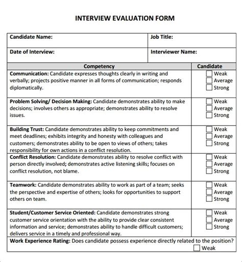 interview evaluation samples   word