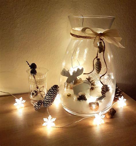 Weihnachtsdeko Mit Lichterketten by Diy Weihnachten Deko Gro 223 Es Glas Dekorieren Mit