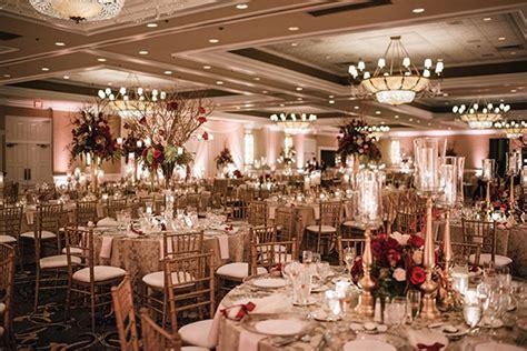 glamorous wedding  gold  burgundy colors crystal
