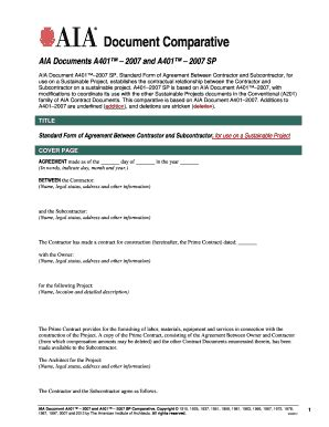 aia a305 fillable form free fillable online a401 2007 contractor subcontractor