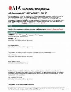 aia a401 subcontractor agreement With aia a305 template