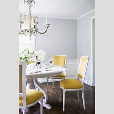 Yellow Dining Chairs + Grey Walls  Dining Spaces  Pinterest