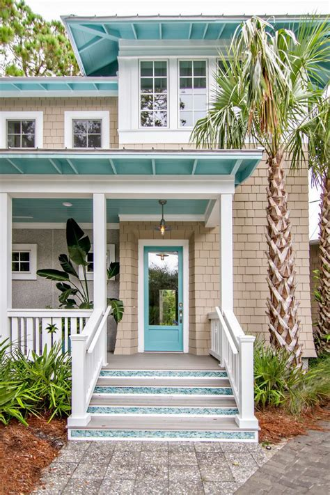Blue And White Dining Room Ideas by Tropical Beach Cottage Exterior Beach Style With Sliding