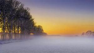 Beautiful Winter Landscape At Sunset With Snow And Fog ...