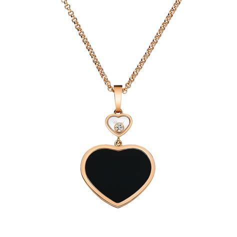18ct gold happy hearts black onyx pendant
