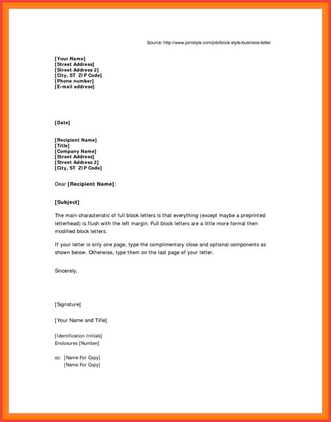 Block Format Letter Example  Memo Example